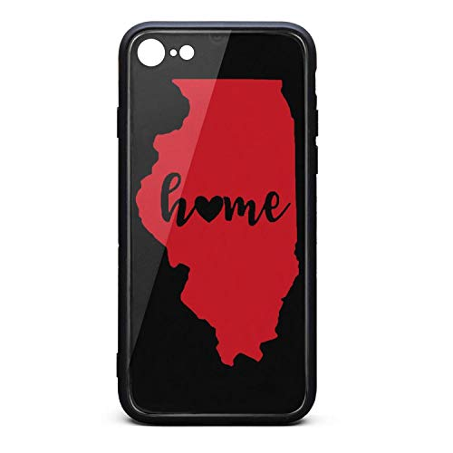 Phone Case for iPhone 6/iPhone 6s Pretty Red Illinois State Flag Tempered Glass Black Anti-Scratch TPU Rubber Bumper Shock Cover for Man Back Cover