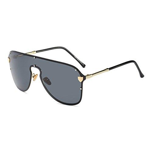 Burenqi Übergroße Sonnenbrille Frauen Männer Schild Luxus Marke Big Frame Sonnenbrille schwarz Grau Niet Eyewear, D