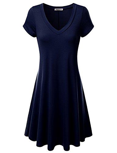 J.TOMSON Women's Short-sleeve V-neck Dress NAVY S