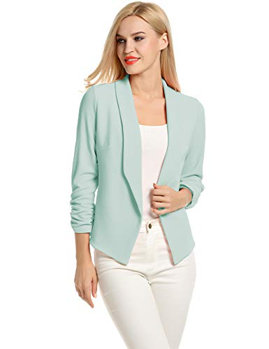 POGTMM Women 3/4 Sleeve Blazer Open Front Cardigan Jacket Work Office Blazer (Mint, US M(8-10))