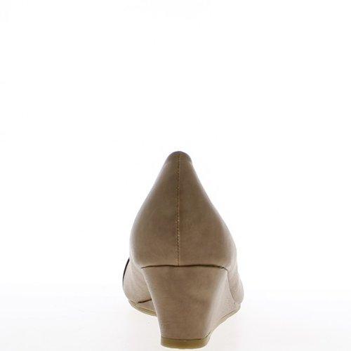 Escarpins compensés grande taille taupe talon de 5,5cm bout vernis