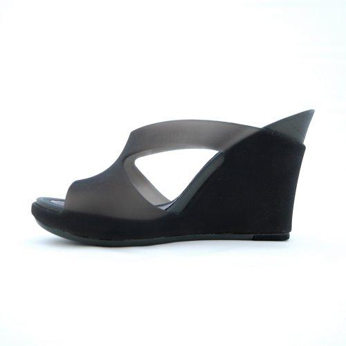 Ccilu Womens HARKER Wedge Sandal Jet/Gun Metal NVUsA