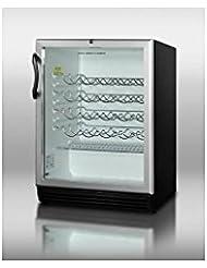Summit SWC6GBLADA Wine Chiller Beverage Refrigerator, Glass/Black