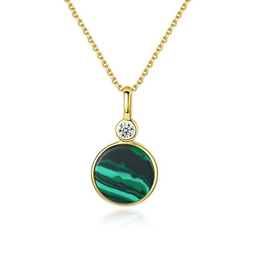 LXIANGP Women's Necklace 925 Sterling Silver Plated 18K Round Malachite Pendant, Chain Length 40cm+5cm, Gift Box Packaging