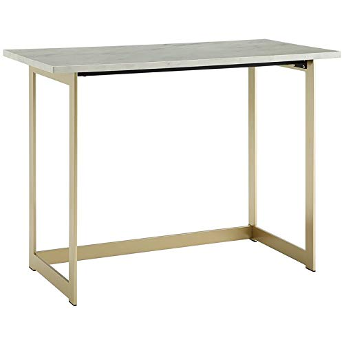 """WE Furniture 42"""" Living Room Faux Marble Desk - White Marble/Gold"""