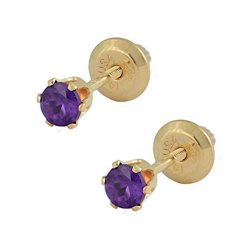 14K Yellow Gold Genuine Amethyst Girls Stud Earrings - February Birthstone