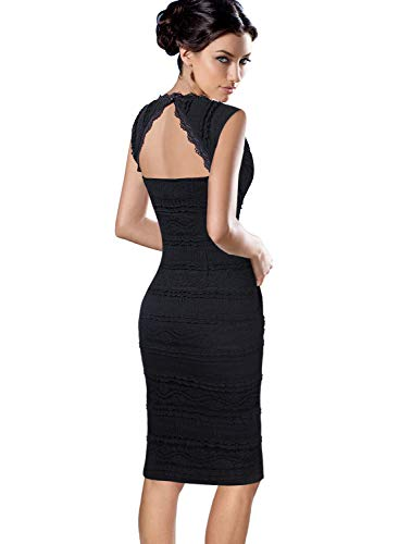 - VFSHOW Womens Sexy V Neck Full Lace Sleeveless Cocktail Party Bodycon Dress 535 BLK M