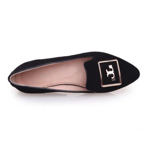 VogueZone009 Girls Closed Pointed Toe Low Heel Frosted Micro Fiber Solid Pumps with Metalornament Black jk2Su