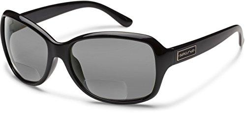 Suncloud Mosaic Polarized Bi-Focal Reading Sunglasses in Gloss Black & Grey Lens +2.25 by Suncloud