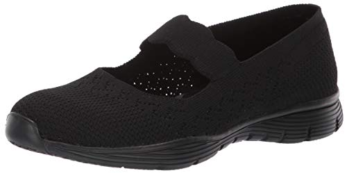 Skechers Women's Seager-Power Hitter-Engineered Knit Mary Jane Flat, Black, 8 M US