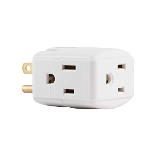 GE Wall Tap, 1, Extra-Wide Adapter Spaced, Easy Access Design, 3 Prong Outlet, Perfect for Travel, UL Listed, White, 58368 ()
