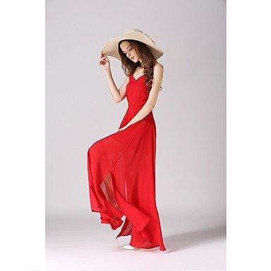 PU&PU Robe Aux femmes Swing Sexy / Bohème,Couleur Pleine A Bretelles Maxi Coton / Polyester , red , l