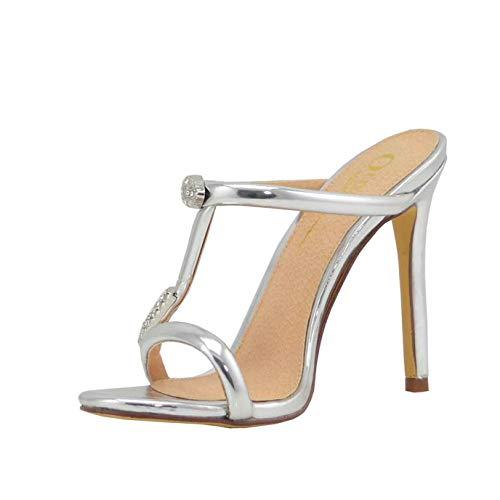 Olivia and Jaymes Women's Jeweled Embellished Rhinestone Crisscross Strap Open Toe Slip on Heel Sandals (9, Silver) - Stiletto Shoes Designer