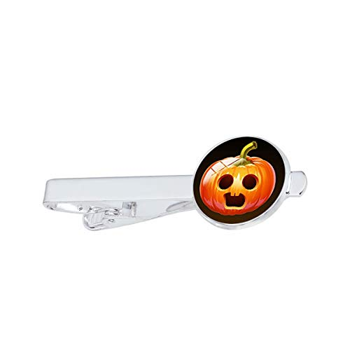 LooPoP Men Tie Clip Halloween Pumpkin Expression Dome Stainless Tie Pins for Business Wedding Shirts Tie Clips Include Gift Box