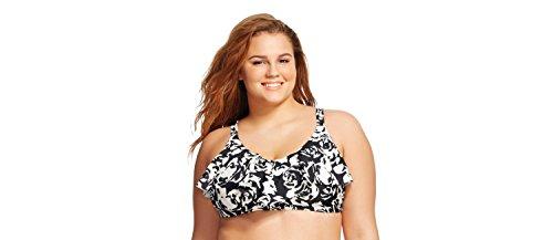 f4212acd5bf4f Ava & Viv Women's Plus Size Flounce Bikini Top (16W, Black/White Floral)