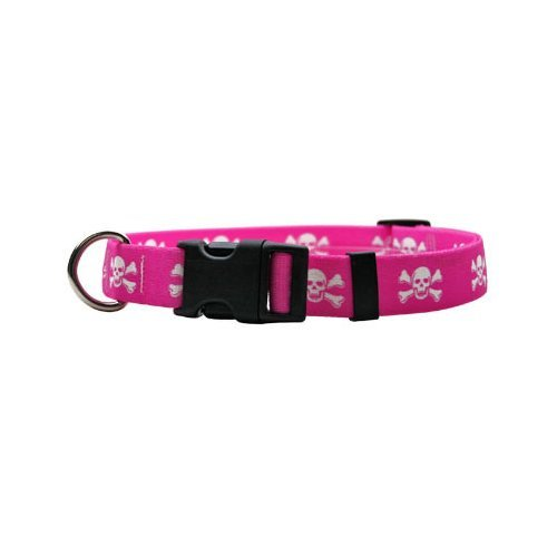 "Pink Skulls Dog Collar - Size Small 10"" to 14"" Long - Made In The USA"