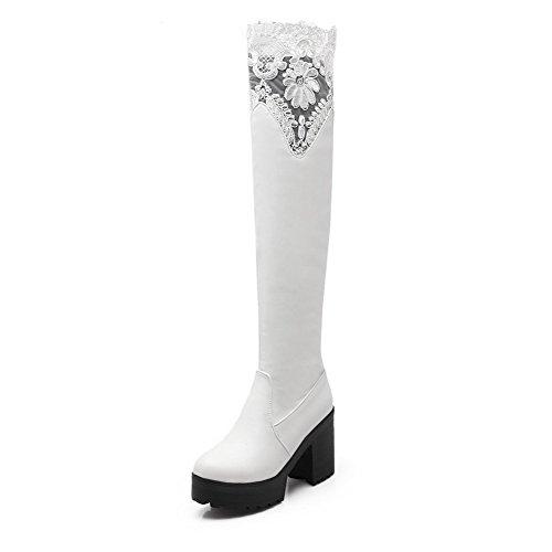 AllhqFashion Damen Ziehen auf Rund Zehe Hoher Absatz Hoch-Spitze Stiefel, Weiß, 36
