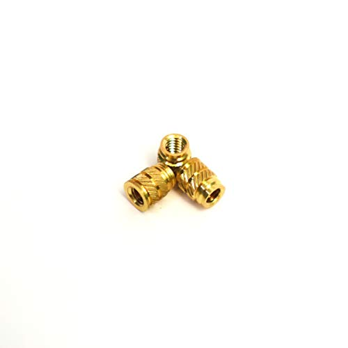 [ J&J Products ] 8-32 Brass Insert 50pcs, 0.251 in OD, 0.312 in Length, Female 8-32 Thread, Press Fitting or Injection Molding Type, 50 pcs