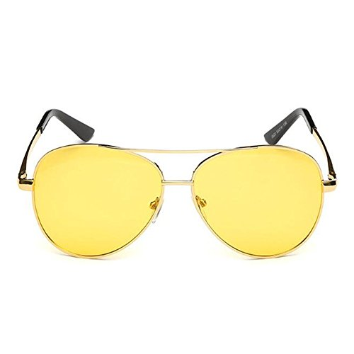 amarilla gafas de aviador polarizado de metal gafas marco clásico sol Unisex JUNDASI Gold estilo de lente qRWqA1