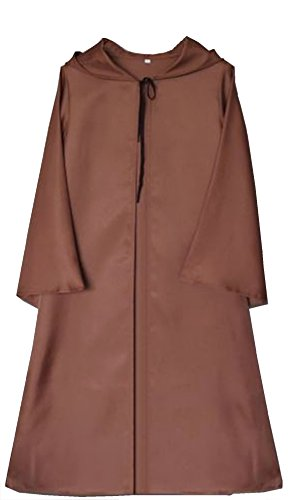 Cohaco Men's Hooded Robe Cloak Cosplay Costume and Black Groves (Large (Asian XXL), Brown)