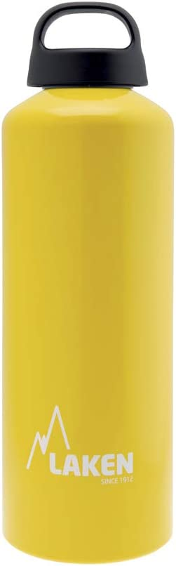 Yellow BPA Free Wide Mouth with Screw Cap and Loop Made in Spain- 34oz Laken Classic Aluminum Water Bottle