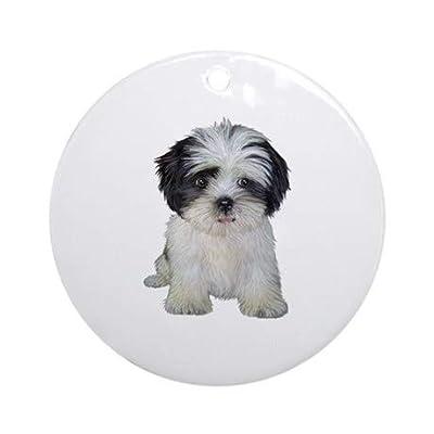 Yilooom-Shih-Tzu-bw-pup-Flat-Porcelain-Ceramic-Ornament-Round-ChristmasHolidayLoveAnniversaryNewlywedsKeepsake-3-in-Diameter