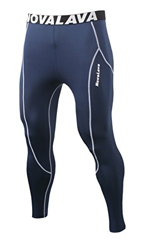 Free Mens Womens Compression Tights Under Leggings Base Layer Pants Navy M