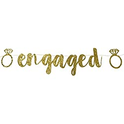 PartyFuFu Engaged Banner Gold Glitter Fancy Engagement Party Photo Prop Banner Bachelorette Parties Decorations