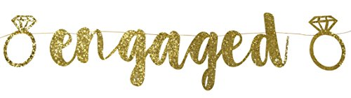 PartyFuFu Engaged Banner Gold Glitter Fancy Engagement Party Photo Prop Banner Bachelorette Parties Decorations (Engagement Decorations)
