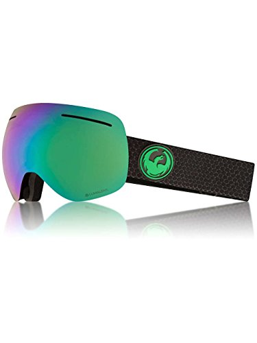 Dragon Alliance X1 Ski Goggles, Large, Black, Split/Luma Green Ion - X1 Dragon