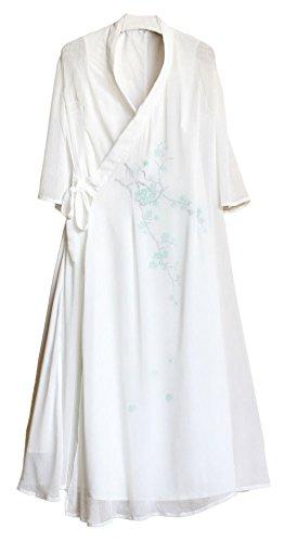 Chinese Robe Costume (Plaid&Plain Women's Han Chinese Style Costume Robe Silk 3/4 Sleeve Dress White freesize)