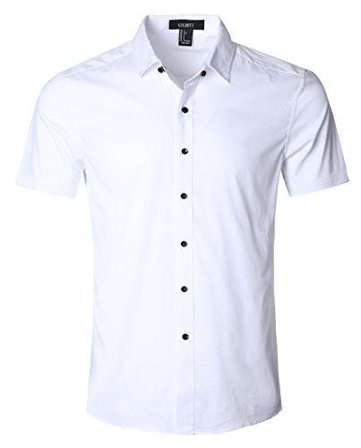 mens 100 cotton short sleeve dress shirt - 6