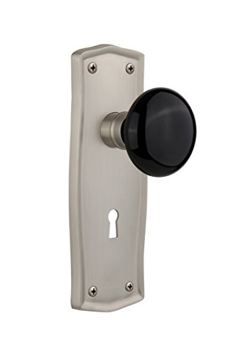 (Nostalgic Warehouse Prairie Plate with Keyhole Black Porcelain Knob, Single Dummy, Satin Nickel)