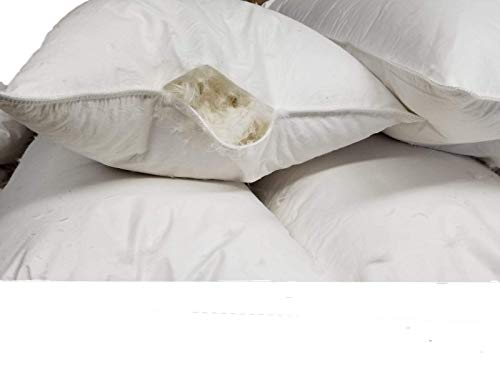 Empty Pillow Shell with No Filling - 100% Cotton Pillow Shell Only, Can Be Used w/Bulk Down Fill Stuffing for DIY, Making Own Pillows - Standard, Queen, King Sizes (Queen, 400TC.)]()
