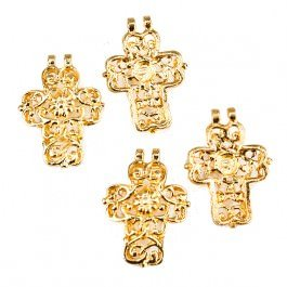 20x15mm 22kt Gold plated Filigree Cross Charm Set of 4