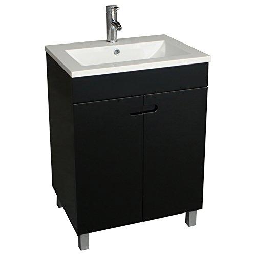 - WALCUT 24 Inch Bathroom Vanity Sink Combo Modern Stand Pedestal Cabinet Resin Countertop Vessel Vanity Sink Faucet Combo Set Black