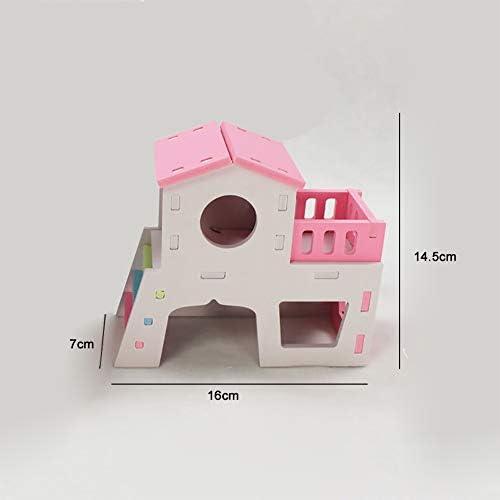 MQUPIN Animal Hideout Placa de plástico de madera Deluxe hámsters Villa Creative de dos capas cabaña para animales ...