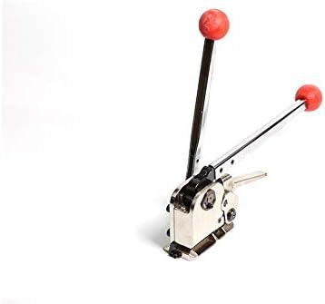 梱包機,ポータブル 省力 簡単操作 鉄の自由なバックルの梱包機の手動包装の鋼鉄ベルトのバックルの紐で縛る機械陰および陽のバックルバンプの留め金が付いている鉄の革紐 業務用 (Size : A)
