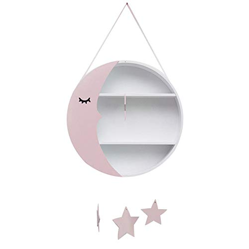 Labyrinen Nordic Style Wooden Round Wall Hanging Shelf - Lovely Moon+Stars Pendant Design, Wall Floating Storage Shelf Display Shelf for Bedroom Nursery Children's Room