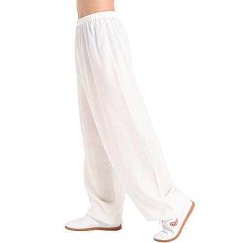 Men's Women Martial Arts Pants Kung Fu Bamboo Cotton Linen Trousers Tai Chi Pants (Large, White)