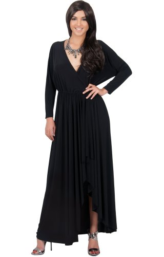 KOH KOH Plus Size Womens Long Sleeve Wrap Slit Formal Fall Winter Cocktail Gown Maxi Dress, Color Black, Size 2X Large (2) / XXL / 18-20