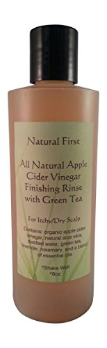 Vinegar Cider Green Tea Apple (Natural First Organic Apple Cider Vinegar Finishing Rinse w/ Green Tea for Itchy/Dry Scalp 8oz)
