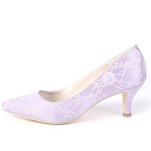 L Primavera Purple Básica Fy160 Tacones Blanco Verano Las Altos Bajo Gatito De yc Zapatos Boda 6cm Mujeres Novia Chunky pxF6UprqTw