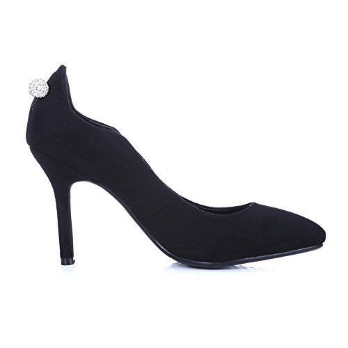 SDC03665 en No mariée Womens AdeeSu pompes noir à pour pointus Closure chaussures talons daim de Comfort T4CqwFx