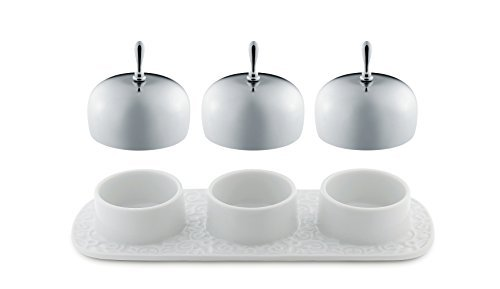 Alessi Dressed Three-Section Jam Tray in Porcelain With Lids in 18/10 Stainless Steel Mirror Polished, White by Alessi by Alessi