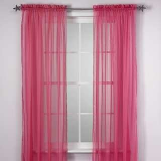 Amazon.com: 2 Piece Solid Fuchsia Pink Sheer Curtains Fully ...