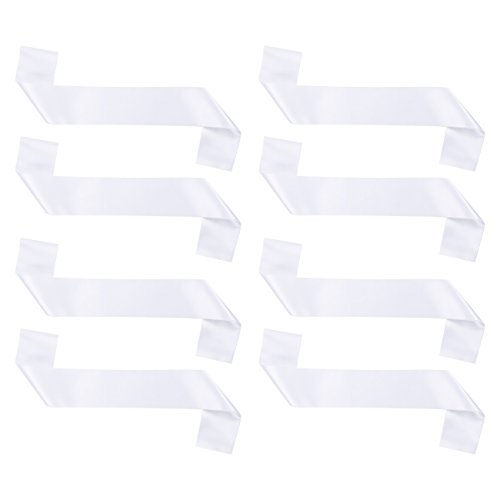 Blank Sash - 8 Pack - Customizable Satin Sashes for Homecoming, Pageants, Parties, Parades | White, 33 x 4 ()