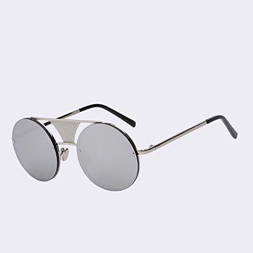 sin de oro reborde revestimiento calidad de redondas lente alta negro de gafas UV400 W espejo TIANLIANG04 sol gafas de el de metal nuevamente de sol a Punk silver mirr w Gafas de Mens Silver hombres HnqSaxt