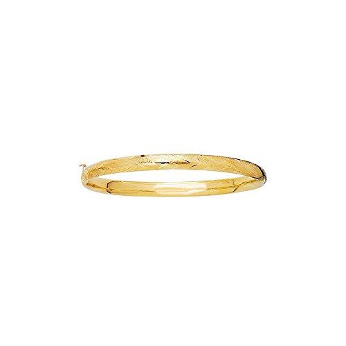 14k Yellow Gold 5.5 Inch Polish Finish X Pattern Girls Bangle Bracelet by Diamond Sphere