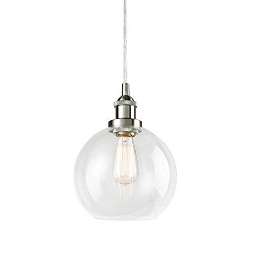 ing Vintage Clear Glass Globe Pendant Brushed Nickel Hanging Light (Nickel Hanging)
